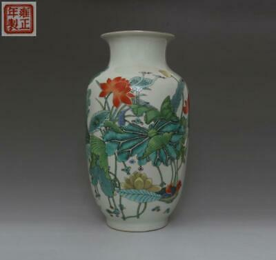 Old Chinese Famille Rose Porcelain Peach Vase Yongzheng Marked 35.5Cm (492)