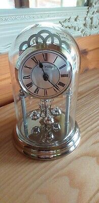 """W.M. Widdop Anniversary Clock 7"""" High with Glass Dome in Lovely working order."""