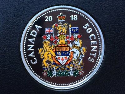 2018 Canada coloured 50 cent pure silver - from proof set - coin only IN STOCK
