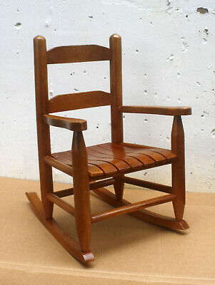 Antique Vintage Solid Hard Wood Wooden Child Childrens Kids Rocker Rocking Chair