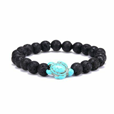 Men Women Volcanic Stone Turquoise Beaded Turtle  Bracelet Lucky Jewelry Gifts