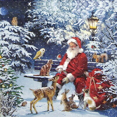 4x Paper Napkins for Decoupage Craft, Party -  Santa on Bench