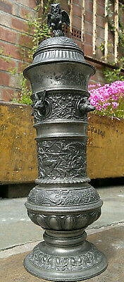 """19thc Antique German Pewter Hunting Trophy Vase Cup~Boar~Wolf~Deer~Hare~13""""Tall"""