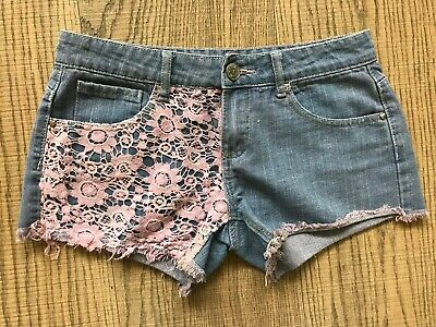 M&Co Kylie Girls Blue Denim Shorts With Pink Floral Lace Overlay Age 13+ Years