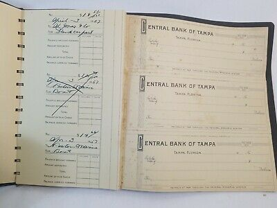 Vintage CHECK Booklet / CENTRAL BANK OF TAMPA Mid Century 1950's 71 Blank Checks