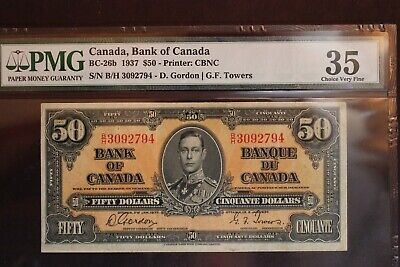 BANK OF CANADA 1937 FIFTY DOLLAR $50  BANK NOTE  BC-26b CHOICE VF