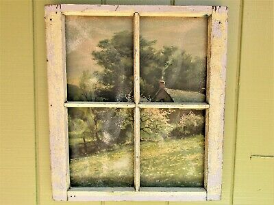VINTAGE SASH ANTIQUE WOOD WINDOW FRAME With Peaceful COUNTRY HOME PRINT