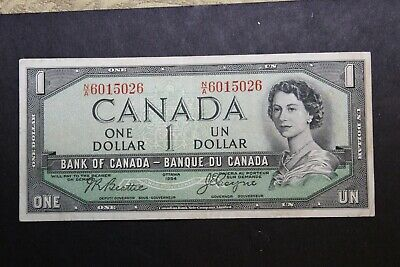 1954 Bank Of Canada Qeii $1 One Dollar Devil Face Note Bc-29B