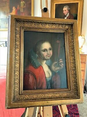 FINE 17th CENTURY DUTCH FLEMISH OLD MASTER TRONIE OIL ON PANEL PORTRAIT PAINTING