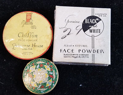 Vintage Face and Body Powder 3 Boxes Coty Emeraude Primrose House Black & White