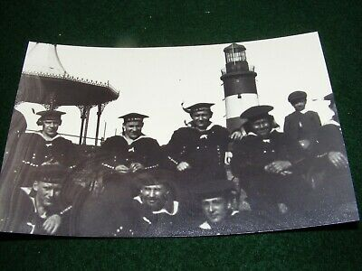 Vintage Photograph Plymouth Hoe German Sailors Smeaton Tower Bandstand