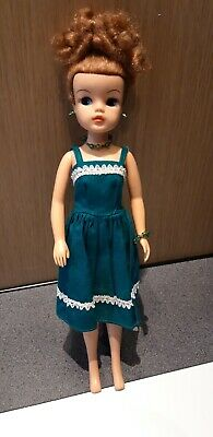 Rare Vintage Sindy brown haired in a green evening dress and jewels