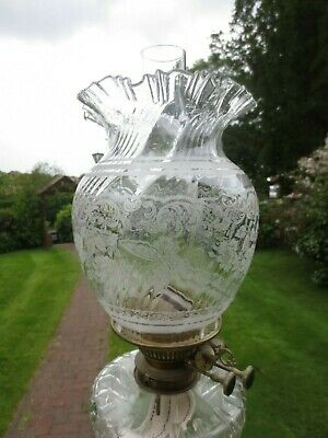 Superb Antique Victorian Acid Etched Parafin Kerosene Oil Lamp Duplex Shade