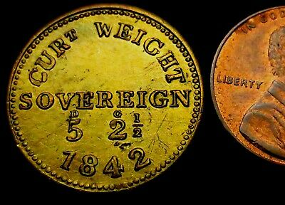 V368: 1842 Full Sovereign Weight - early Queen Victoria - Royal Mint - Rare
