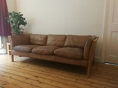 Danish mid-century 3 seat leather / beech sofa