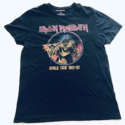 fe92e6f5 IRON MAIDEN WORLD TOUR 1982-83 Heavy Metal Band Concert T-Shirt Sz Large