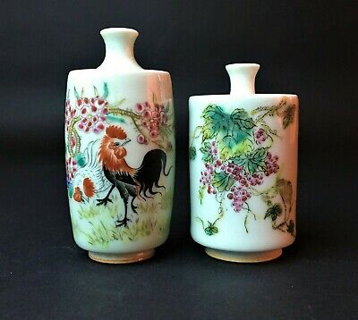 19 C.  Two Chinese Famille Rose Porcelain Herb Vase/Bottle.Marked.