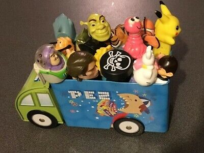 Rare Collectors Pez Tin Truck Storage Pez Dispensers Inc Goofy Miss Piggy Ben 10