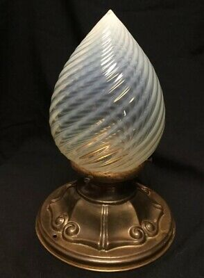 Antique Blue Phoenix Opalescent Swirl Glass Shade and Brass Ceiling Cover