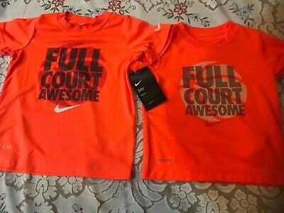 "NWT Boy's Nike Dri-Fit ""Full Court Awesome"" Orange Basketball ~ Size 2T, 4"