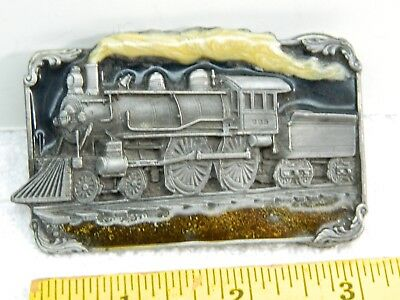 Vintage Siskiyou Buckle Co Steam Engine Train Pewter Resin Belt Buckle H-40 1986