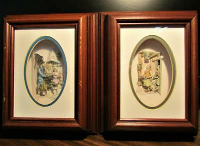 Two (2) Beautifully Hand-Made Vintage Anton Pieck Framed 3D Shadow Boxes