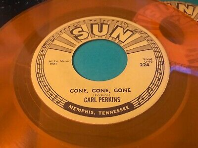 CARL PERKINS Gone Gone Gone SUN 224 debut RARE Minor 70's REPRO 45 NM GOLD WAX