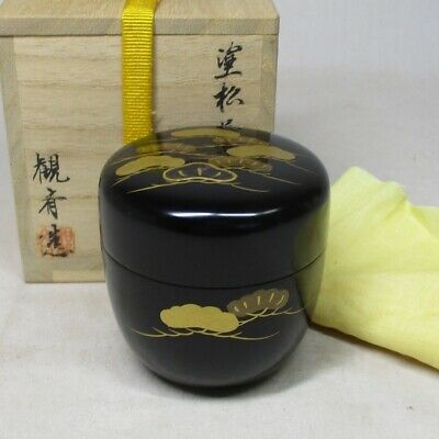 A015 Antique Japanese Lacquered Wooden Tea Caddy Natsume Gold Makie Tea Ceremony