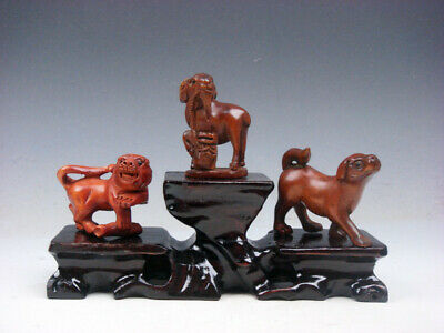 3 Japanese Boxwood Hand Carved *Tiger Goat Puppy* Netsuke w/ Wooden Stand