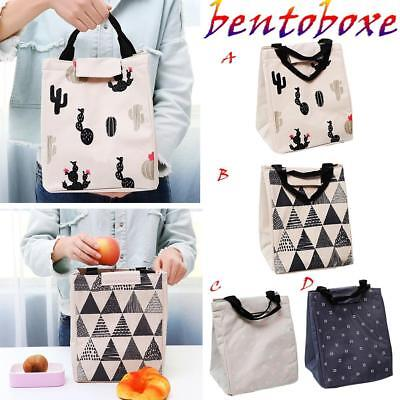 Cute Portable Insulated Canvas Cooler Picnic Lunch Bag Box Thermal Food Tote