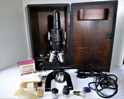 Vintage American Optical Ao Spencer Lab Microscope 3 Objective Case Extras
