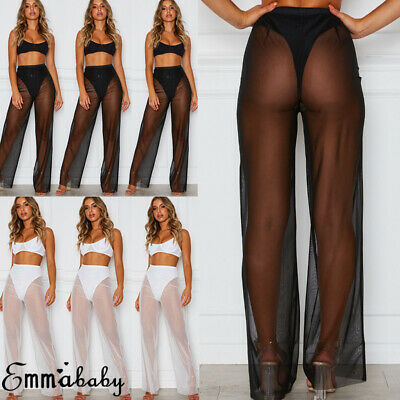 585611c86a Womens Beach Mesh Sheer Lace Wide Leg Pants Ladies Cover Up Flared Trousers