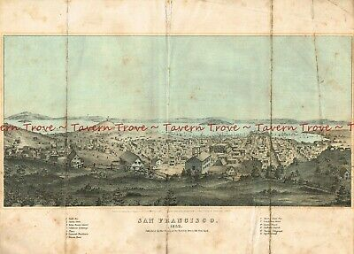 Original 1852 lithograph view SAN FRANCISCO looking north from ?Lafayette Park?