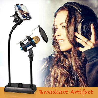 Microphone Suspension Boom Arm Stand Shock Mount For Broadcast Studio Mic