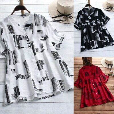 Plus Size Womens Button Tunic Blouse Ladies Long Sleeve Loose T Shirt Top 14-24