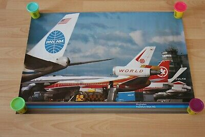 Poster Flughafen Frankfurt PAN AM / World Airways / Air Canada / Delta