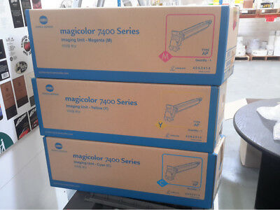 3X Konica Minolta Magicolor 7400 Series Imaging Unit Cyan Magenta Yellow 4062314