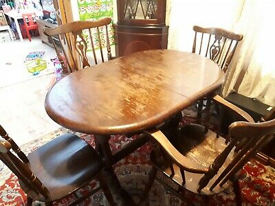 Wooden Round Extending Dining Table and 4 Chairs