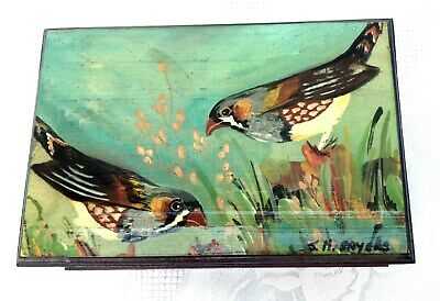 Vintage SAYERS H/P Australian Zebra FINCH Solid Timber Trinket Box