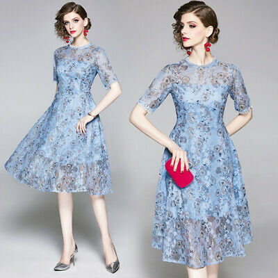women lace Print Floral runway slim Skater party Cocktail office work wear dress