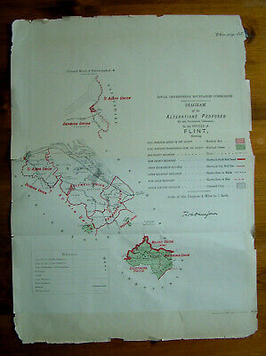 Rare - FLINTSHIRE Antique Ordnance Survey Map 1888. Robert Owen Jones
