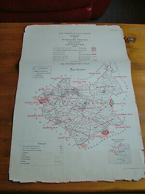 Rare - LEICESTERSHIRE Antique Ordnance Survey Map 1888. Robert Owen Jones