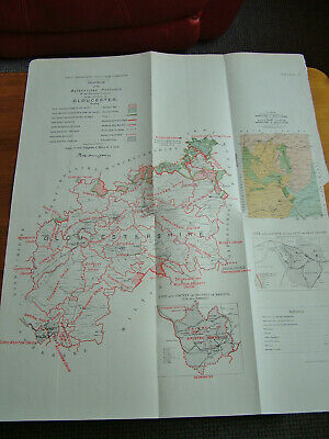 Rare - GLOUCESTERSHIRE Antique Ordnance Survey Map 1888. Robert Owen Jones