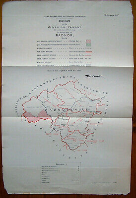 Rare - RADNOR RADNORSHIRE Antique Ordnance Survey Map 1888. Robert Owen Jones