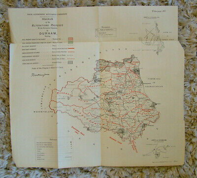 Rare - DURHAM Antique Ordnance Survey Map 1888. Robert Owen Jones