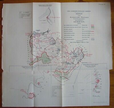 Rare - DENBIGH DENBIGHSHIRE Antique Ordnance Survey Map 1888. Robert Owen Jones