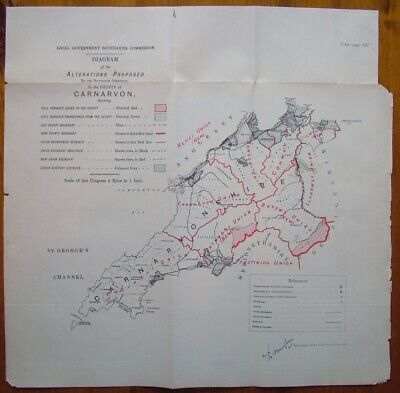 Rare - CARNARVONSHIRE Antique Ordnance Survey Map 1888. Robert Owen Jones
