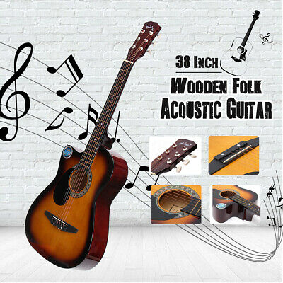 Full Size 38 inch  Wooden Folk Acoustic Guitar Classical Metal Strings 18 Frets
