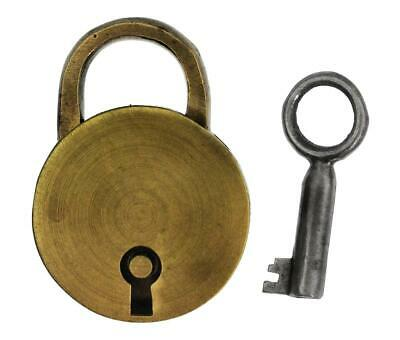 Antique Padlock with Brass CIRCULAR CASE - 43.3mm Tall - P498