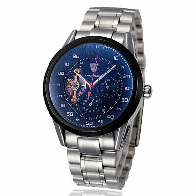 TEVISE Luxury Mens Automatic Mechanical Watch Stainless Steel BandDate Display